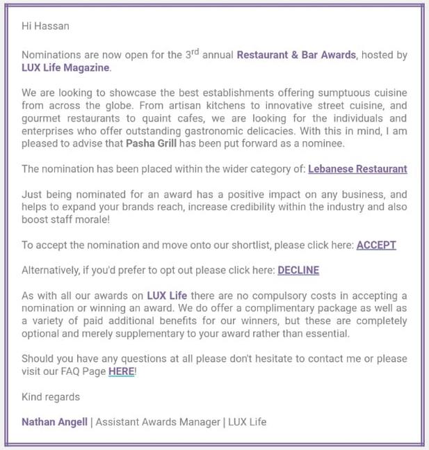 Best Lebanese Restraunt UK, 2018